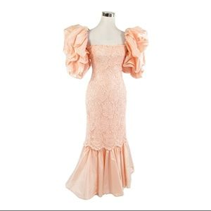 Caché pink silk vintage gown dress 6 XS